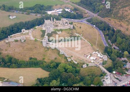 Aerial view of Corfe Castle, Dorset - Stock Photo