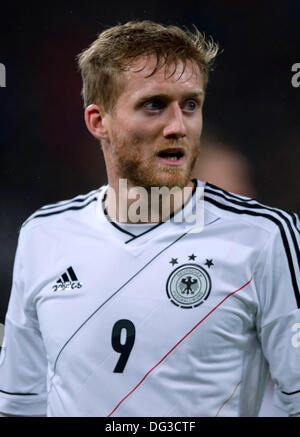 Cologne, Germany. 11th Oct, 2013. Germany's Andre Schuerrle reacts during the soccer match between Germany and Ireland - Stock Photo