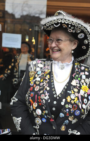 London, UK. 13th Oct, 2013. Christine Prosser, the Pearly Queen of Upton Park before the start of the St Paul's - Stock Photo