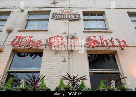 The neon sign on the Old Ship pub at Richmond Richmond upon Thames London UK - Stock Photo