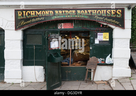 Richmond Bridge Boathouses London UK - Stock Photo