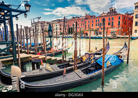 Gondolas on Grand canal in Venice - Stock Photo