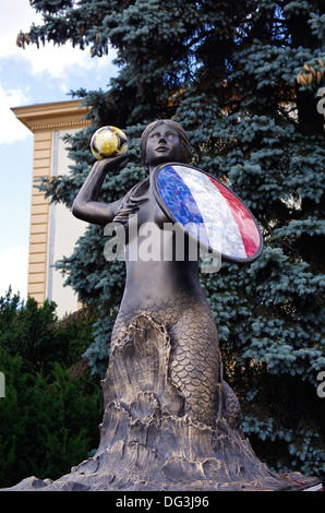 Mermaid (symbol of Warsaw) sculpture for the France team on display during the EURO 2012 in Warsaw, Poland - Stock Photo