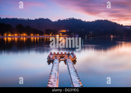 Kandy Lake at sunrise, Kandy, Central Province, Sri Lanka, Asia - Stock Photo