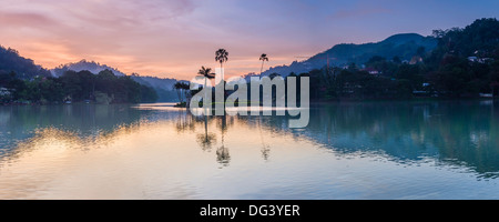 Kandy Lake and the island at sunrise, Kandy, Central Province, Sri Lanka, Asia - Stock Photo