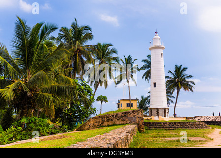 Galle lighthouse in the Old Town of Galle, UNESCO World Heritage Site, Sri Lanka, Asia - Stock Photo