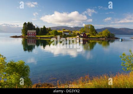 An idyllic rural island in the Hardanger Fjord, Hordaland, Norway, Scandinavia, Europe - Stock Photo