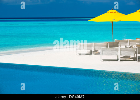 Infinity pool and lounge chairs, Maldives, Indian Ocean, Asia - Stock Photo