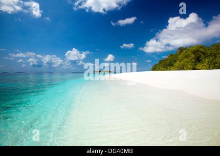 Tropical beach, Baa Atoll, Maldives, Indian Ocean, Asia - Stock Photo