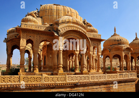 Bada Bagh (Barabagh), royal cenotaphs (chhatris) of Maharajas of Jaisalmer State, Jaisalmer, Rajasthan, India, Asia - Stock Photo
