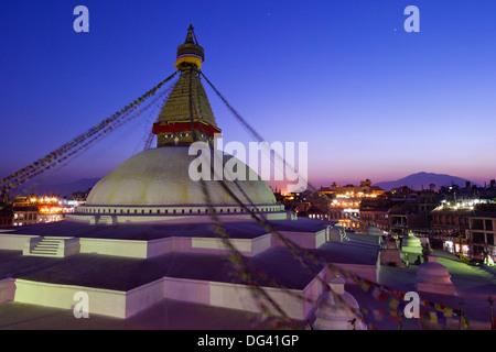 Boudhanath Stupa at sunset, UNESCO World Heritage Site, Kathmandu, Nepal, Asia - Stock Photo