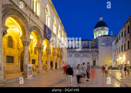 Rector's Palace and Cathedral at dusk, UNESCO World Heritage Site, Dubrovnik, Dalmatian Coast, Dalmatia, Croatia, - Stock Photo