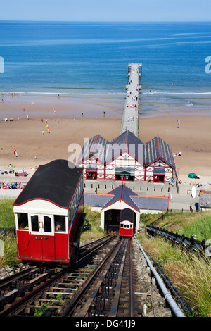 Cliff Tramway and the Pier at Saltburn by the Sea, Redcar and Cleveland, North Yorkshire, Yorkshire, England, United - Stock Photo