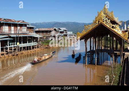 Canal-side village, Inle Lake, Shan State, Myanmar (Burma), Asia - Stock Photo