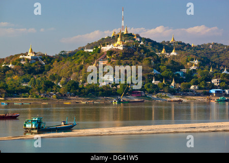 Stupas on Sagaing Hill and Ayeyarwady River, Sagaing, near Mandalay, Myanmar (Burma), Asia - Stock Photo