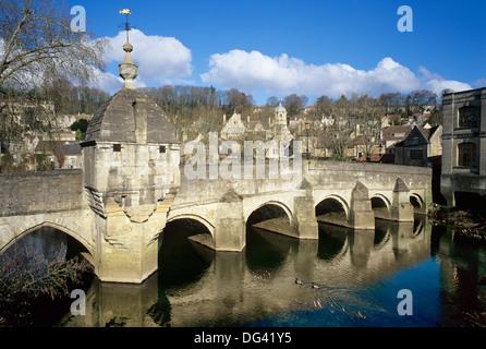 The Town Bridge over the River Avon, Bradford on Avon, Wiltshire, England, United Kingdom, Europe - Stock Photo