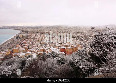 Nice city under the snow, Alpes-Maritimes, Provence-Alpes-Côte d´Azur, France - Stock Photo