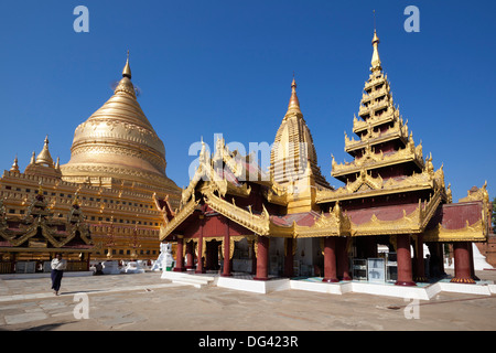 Shwezigon Pagoda, Bagan, Central Myanmar, Myanmar (Burma), Asia - Stock Photo