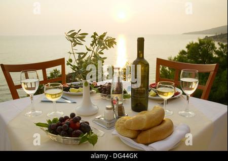 Dinner Croatian style, Makarska Riviera, Croatia - Stock Photo