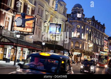 Theatres at night, Shaftesbury Avenue, London, England, United Kingdom, Europe - Stock Photo