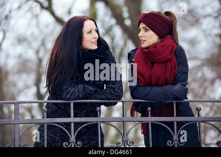 Relaxed women in the park having a serious conversation - Stock Photo