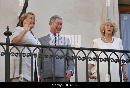 Santiago Chile march 09 2009 Prince Charles of England with the Duchess of Cornwall will meet with President Michelle - Stock Photo