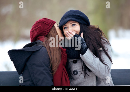 Two outdoor friends having fun and sharing secrets with each other - Stock Photo