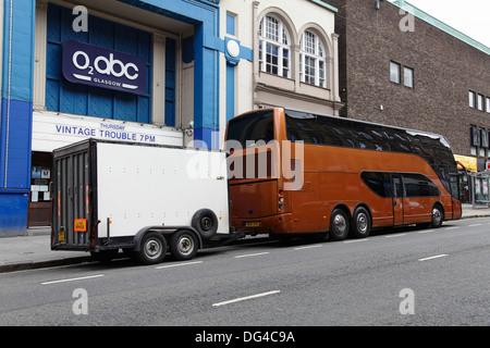 Tour bus outside the O2 abc where Blues Band Vintage Trouble performed, Sauchiehall Street, Glasgow city centre, - Stock Photo