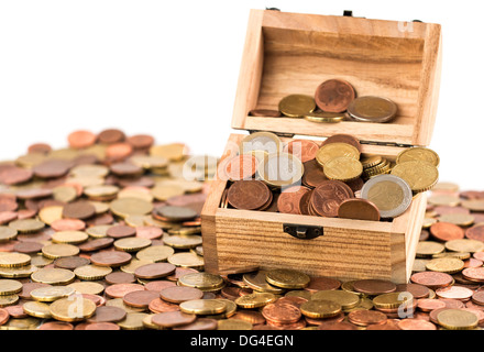 A treasure chest with a bunch of Euro coins and cents - Stock Photo