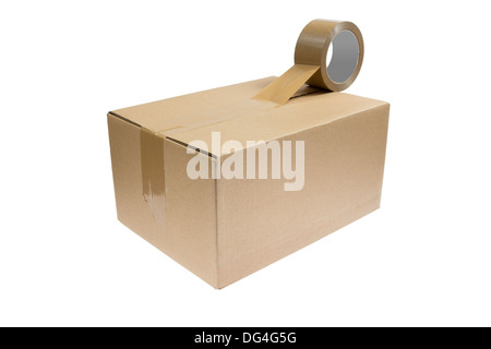 A parcel with a roll of duct tape closing the parcel. isolated on white background - Stock Photo