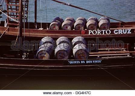 Barcos Rabelos traditional boats at Porto Portugal - Stock Photo