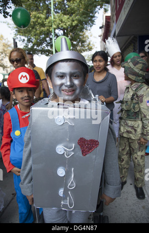 Costumed children march in the annual ragamuffin Parade in Bay Ridge Brooklyn, NY. - Stock Photo