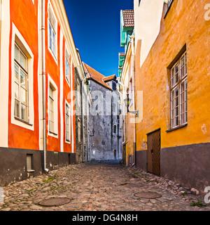 Alleyway on Toompea Hill in Tallinn, Estonia. - Stock Photo