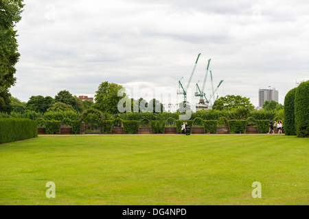 LONDON, UK - AUGUST 13: Grounds in Kensington Palace garden, in Kensington Garden Park, next to Hyde Park. August - Stock Photo