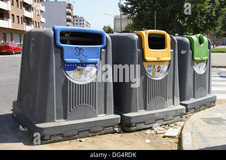 Recycling containers for glass, paper and plastic. Lleida, Segria, Catalonia, Spain - Stock Photo