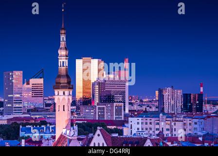 Skyline of Tallinn, Estonia at blue hour. - Stock Photo