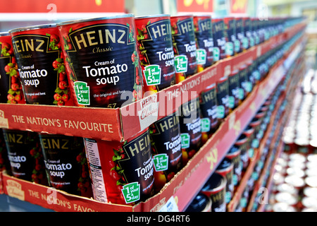 Heinz tomato soup tins on sale in a supermarket - Stock Photo