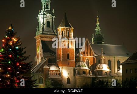 night view of Royal Wawel Castle in Cracow at Christmas time, Cracow the former capital of Poland, UNESCO World - Stock Photo