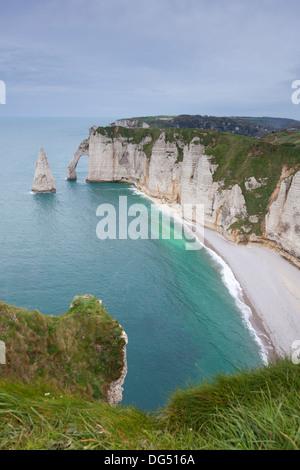 Coast in Etretat, Haute Normandie, France - Stock Photo