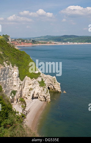 On the south west coast path near Beer, looking east towards Seaton - Stock Photo