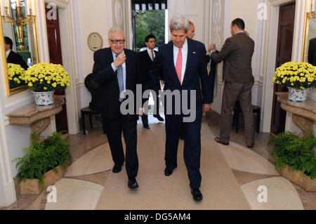 US Secretary of State John Kerry with Lakhdar Brahimi, the United Nations Special Representative for Syria, before - Stock Photo