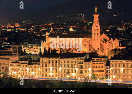 Basilica di Santa Croce in Florence, Italy. Taken from Piazzale Michelangelo - Stock Photo