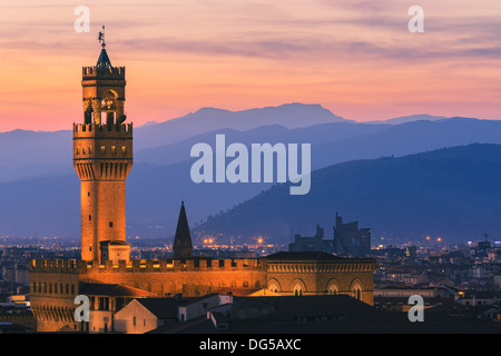 The Palazzo Vecchio is the town hall of Florence, Italy. Taken from Piazzale Michelangelo - Stock Photo