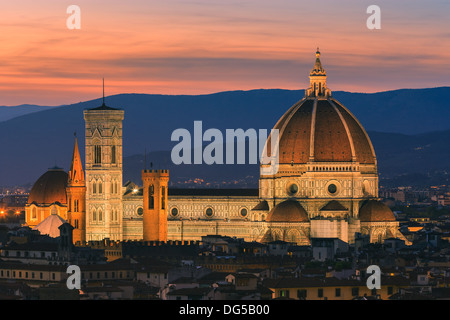 The Basilica di Santa Maria del Fiore (Basilica of Saint Mary of the Flower) is the main church of Florence Stock Photo