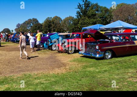 Classic and modified cars at an auto show in Goleta, California near Santa Barbara. - Stock Photo