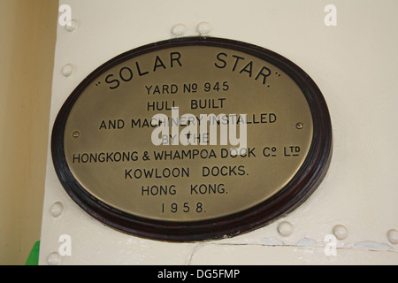Manufacturers plaque for Solar Star, one of the Star Ferry fleet running between Hong Kong island and Kowloon - Stock Photo