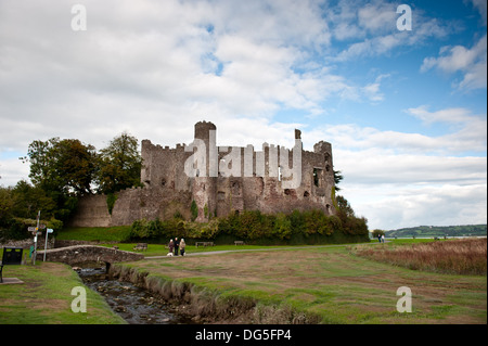 A view Laugharne castle ,Laugharne, the Birthplace of Dylan Thomas, Wales,UK - Stock Photo