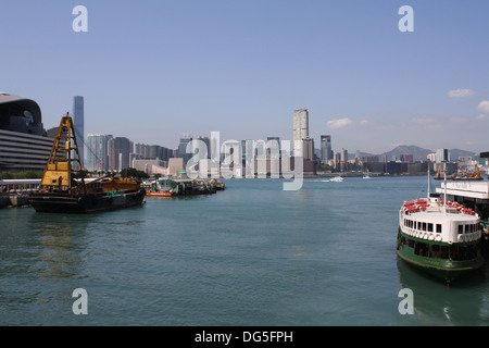 Solar Star, one of the Star Ferry fleet that runs between Hong Kong island and Kowloon . Ferry docked at Tsimshatsui - Stock Photo