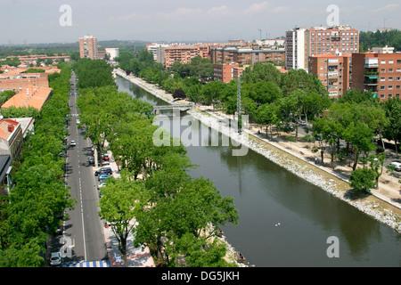 Argüelles quarter, Manzanares River. Madrid. Spain - Stock Photo