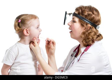 doctor examining child isolated - Stock Photo